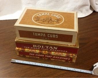 3 Vintage Cigar Boxes, Tampa Cub Gems, and 2 Roi-Tan Fresh Panetelas