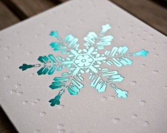 Blue Foil Snowflake Greeting Card