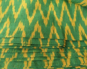 Green And Yellow Ikat Fabric