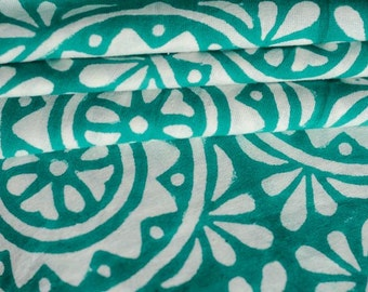Turquoise Block Print Cotton UPHOLSTERY FABRIC by the yard