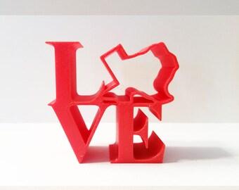 Love Statue, Philadelphia Love Icon, Love Art, Love Ornament, 3D Printed Love Figurine, Red Love Ornament, Love Figurine, Love Decor, Texas