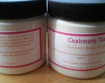 Cashmere Tea/Hand and Body Cream/Hand and Body Lotion/Moisturizer/Handcrafted/Hand poured/Shea butter/Cocoa butter/Avocado oil