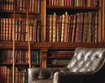 Vintage Bound Blue Books for Library Design
