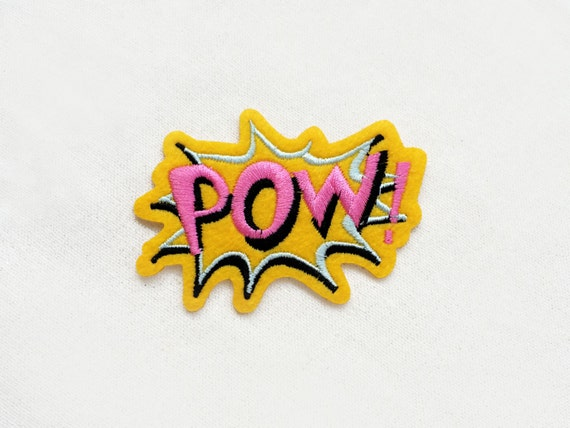 Items Similar To 1x POW Pop Art Patch Iron On Embroidered Patches Applique Yellow Pink ...