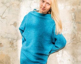 Knitted blue dress-tunic