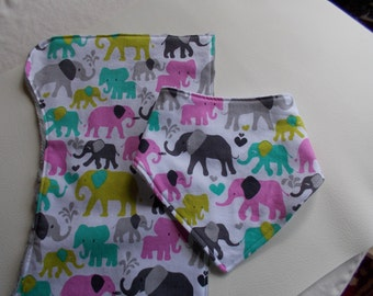 Elephant Bib and Burp Cloth Set