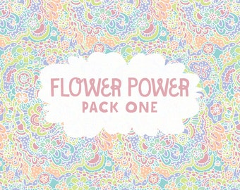 INSTANT DOWNLOAD! Flower Power Pack 1: 6 Digital Scrapbook Papers