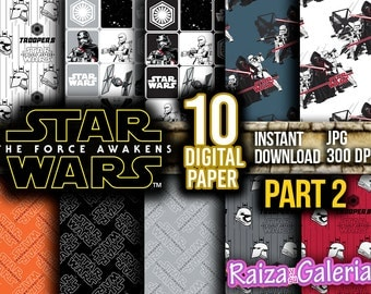 AWESOME Star Wars The Force Awakens Digital Paper. Part 2 Instant Download - Scrapbooking - STAR WARS Printable Paper Craft!