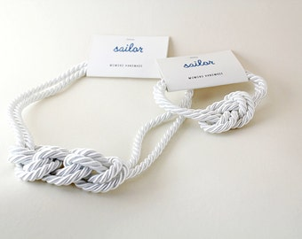 White Knotted Statement Necklace and Bracelet