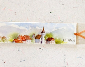 Original watercolor bookmark of  a village in Alsace in France - original painting