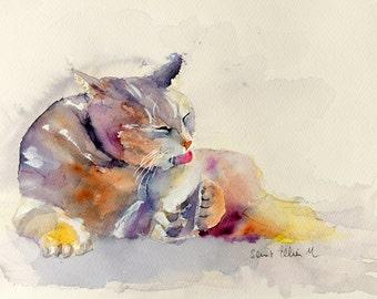 Original watercolor of a grooming cat - original  painting of a grooming cat