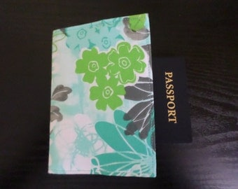 Lime Green and Turquoise Floral Fabric Passport Cover / Holder NEW Handmade FREE SHIPPING