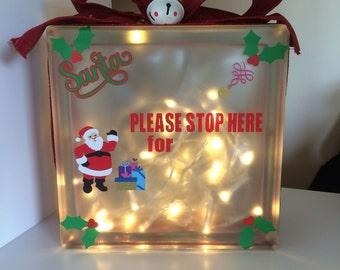 Santa stop here christmas glass light block