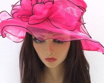 Fuchsia Kentucky Derby Hat, Church hat, Tea Party Hat, Pink Hat, Formal Hat, Fashion Hat, Church Hat, Derby Hat