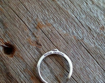 Mother Daughter Sterling Silver Ring, Mothers Day gift, Sentimental