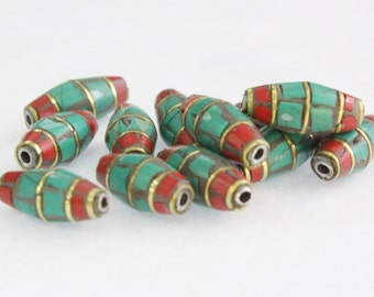 10Qty Nepalese Tibetan Beads, Coral & Turquoise Beads, 15mm x 5mm Barrel Beads