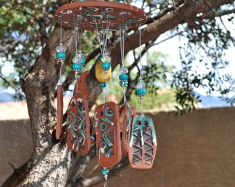 Handmade Ceramic Wind Chime - Southwest Moon Rising - Primitive