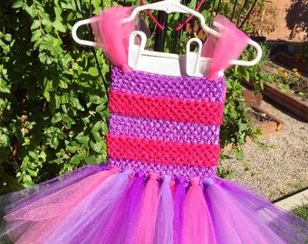Cheshire Cat Costume- Cat Costume- Alice in Wonderland Costume- Pink and Purple tutu- Halloween Costume