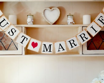 Just Married Bunting, Wedding Bunting, Wedding Decoration, Vintage Wedding Photo Prop