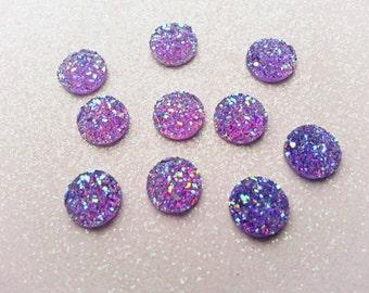10mm Violet Purple Faux Druzy Cabochon - 10 pcs