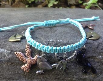 Blue Macrame Bird Charm Bracelet
