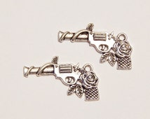2x Gun And Rose Charms - Southwestern Charms - Tibetan Silver - Jewelry Supplies - Charms - Craft Supplies