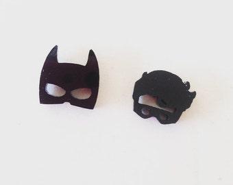 Batman and Robin Laser Cut Acrylic Earrings Studs