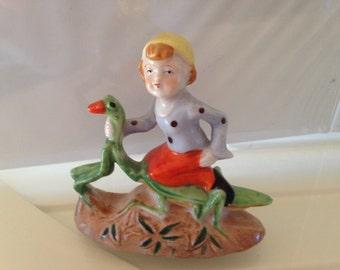 Vintage Elf Riding a Praying Mantis Figure