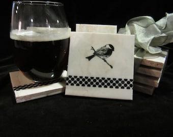 Set of four handmade tile bird coasters
