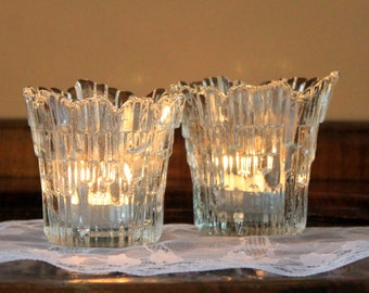 Vintage Humppila Crystal Candle Holders, 2 Northern Lights Votives, Tauno Wirkkala, Finnish Textured Ice Crystal, 1970's Finland Ice Glass