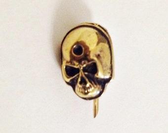 Skull Brass Pin Brooch Antique Solid Brass Jewelry Puck Rock Skull Head Safety Pin Brooch