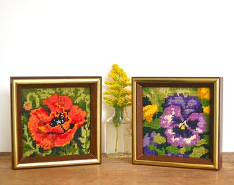 Pansy and Poppy framed needlework -- set of two, vintage embroidered textile art, floral embroidery artwork, wood frame with gold accents