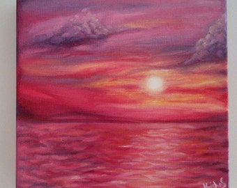Purple Sunset Oil Painting