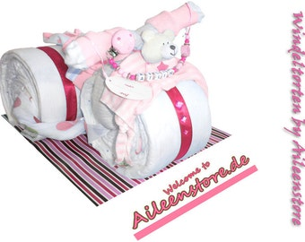 Diaper cake diaper cake motorcycle incl. Dummy name