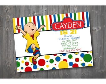 Cailou Birthday Invitation, Cailou Party Invitation, Birthday Invitation