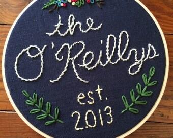 "6"" Hoop Art Hand Embroidered Family Memento/Gift"