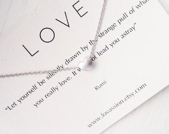 Tiny Heart Necklace, heart necklace, love necklace, dainty heart necklace, silver, gold, heart necklace, Mother's Day gift, bridesmaid gift