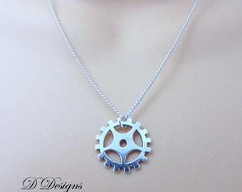 Cog Necklace, Silver Cog Pendent, Silver Charm Necklace, Steam punk Necklace, Trendy Necklace