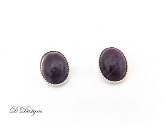February Birthday Earrings, Amethyst Earrings, Sterling Silver Earrings, Gemstone Earrings, Purple Earrings, Gifts for her, Stud earrings