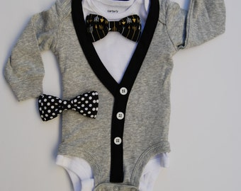 SALE - Black and White Cardigan Onesie and Bow tie Set