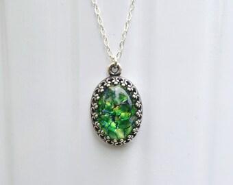 Antique Silver Green Opal Necklace, Green Opal Necklace, Antique Silver Pendant, Emerald Glass Opal Necklace, Sterling Silver Necklace