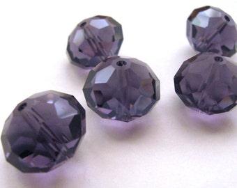 3 piece Maxi-Facett beads - violet - 12 x 16 mm