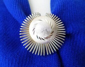 Vintage West Germany Stamped, Gold Tone Modernist Dress Scarf Clip.