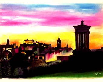 calton hill edinburgh skyline in scotland print of my original oil painting - Oil Painting