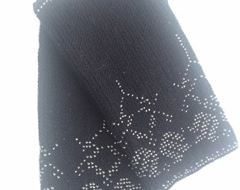 Hand knitted wrist warmers with beads