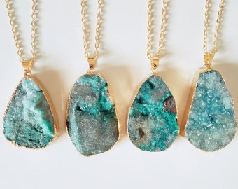 FREE UK SHIPPING - Green Druzy Crystal - Pendant - Raw Rough Necklace - Natural Stone Rock