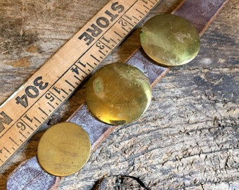 Trio Of Antique Brass Horse Bridle Buttons/Rosettes