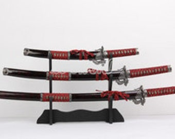 3PCS Set Japanese Samurai Dragon Swords With Wooden Stand Carbon Steel blade