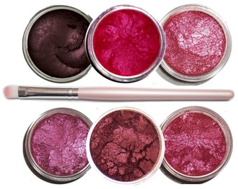 Ultimo Minerals THE REDS Pigments Eye Shimmer Shadow Liner Kit + Brush - Chemical Free - Gluten Free - Free Shipping!