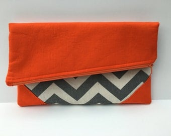 Gameday Foldover Clutch in gray chevron & orange